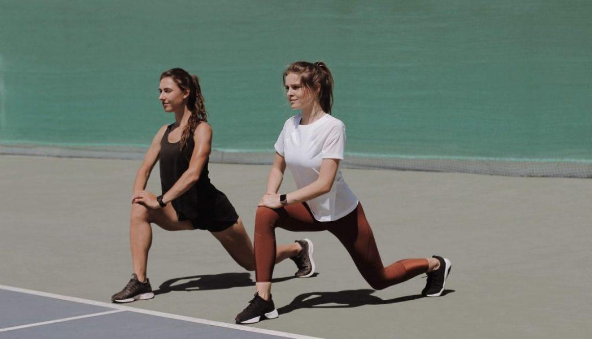 two women doing sports